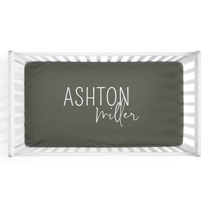 Personalized Crib Sheet in Olive | Classic Font Duo