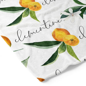 Orange Blossoms Personalized Toddler Blanket