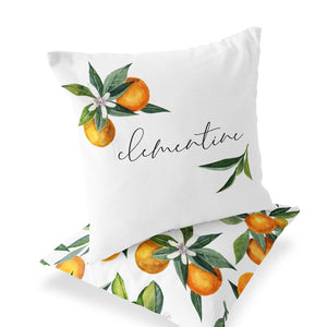 Orange Blossoms Custom Name Throw Pillow