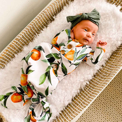 Orange Blossoms Newborn Baby Knot Gown & Hat Set