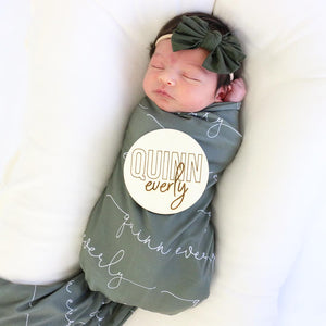 olive green personalized swaddle
