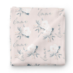 Paisley's Blush Floral Personalized Baby Name Swaddle Blanket