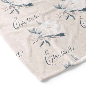 Paisley's Blush & Sage Floral Personalized Toddler Blanket