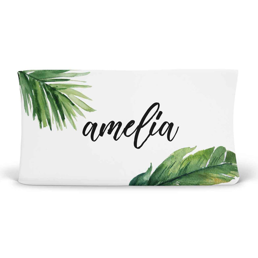 Forest Palm Personalized Fitted Changing Pad Cover
