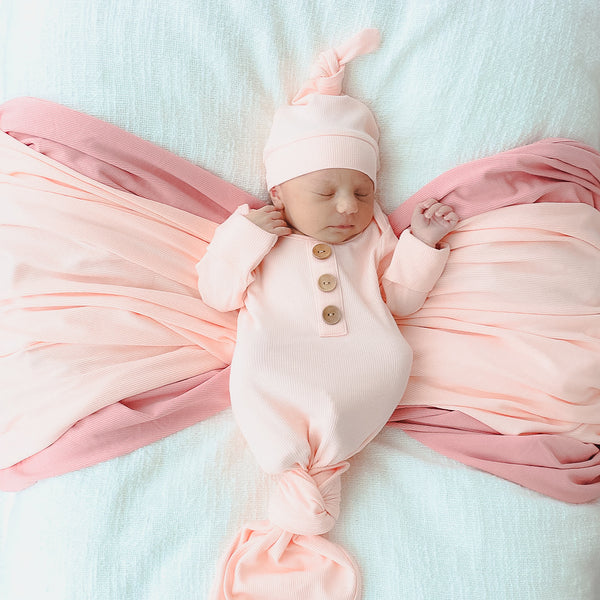 peony pink newborn knot gown ribbed