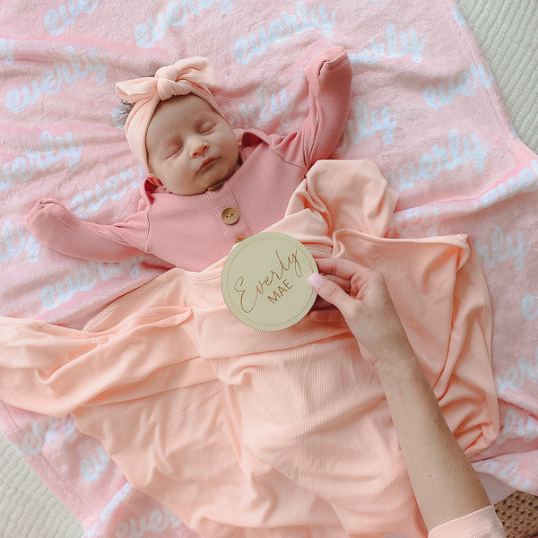 Peony Pink Ribbed Bamboo Knit Swaddle*