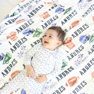 personalized football blanket for toddlers