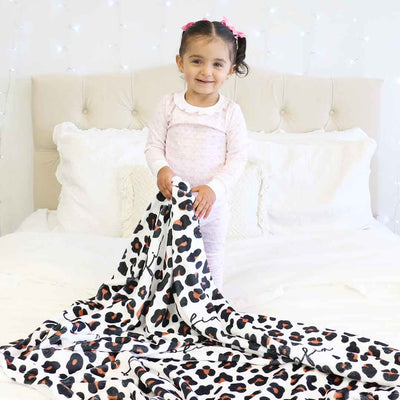 personalized leopard toddler blanket for nap time