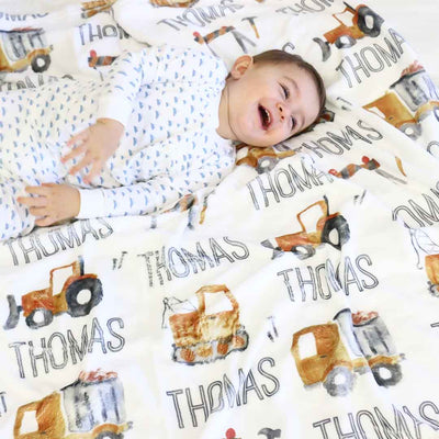 personalized tractor blanket