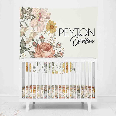 Peyton's Vintage Floral Personalized Wall Tapestry