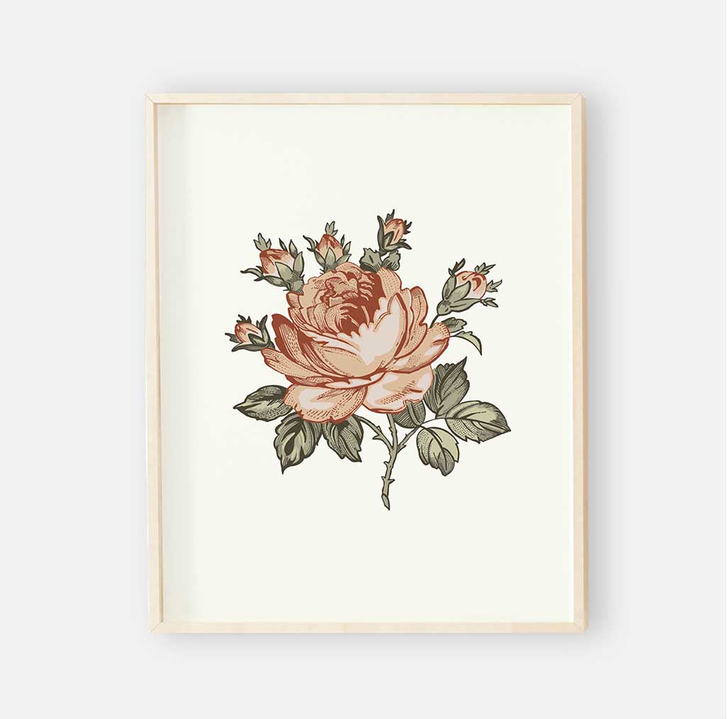 Peytons vintage floral digital nursery wall art print 2