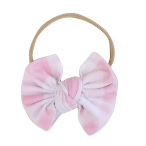 Pink Gingham Knit Bow Headband