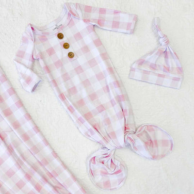 pink gingham knot gown and hat newborn set