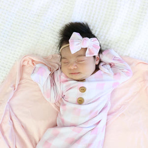 pink gingham knot gown set for newborn