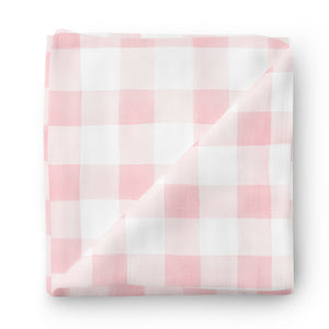 blush pink gingham swaddle