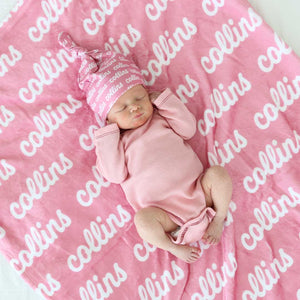 pinks kids name blankets