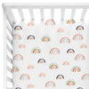 pink rainbow crib sheet