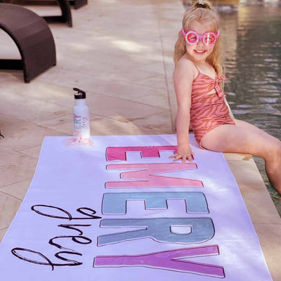kids personalized pool towel bright colors