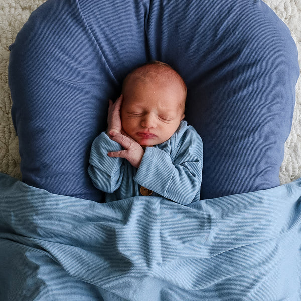 powder blue ribbed newborn swaddle