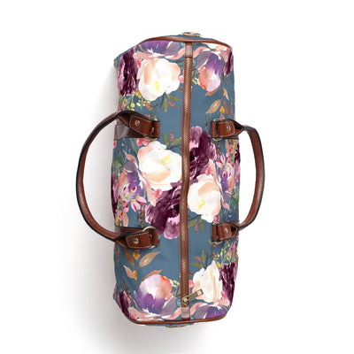 grae's dusty blue floral overnight bag
