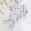 puppy print zipper footie
