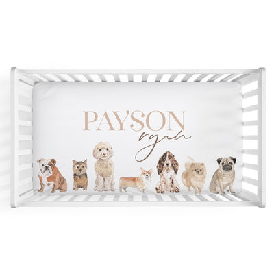 Puppy Love Personalized Crib Sheet