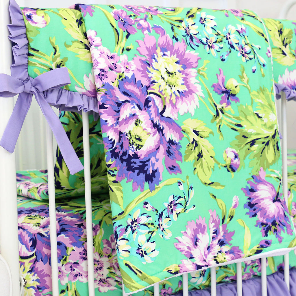 Matching Purple-Green Floral Baby Blanket