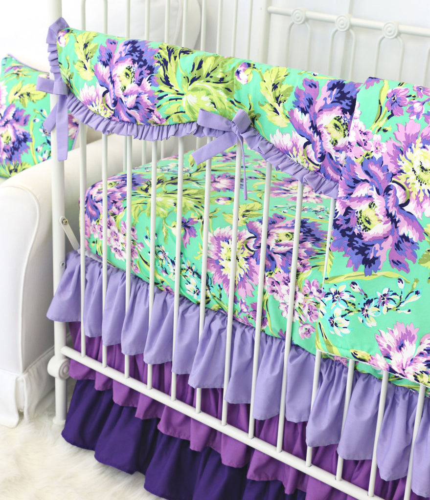 Closeup View of Purple Paige Bumperless Baby Bedding