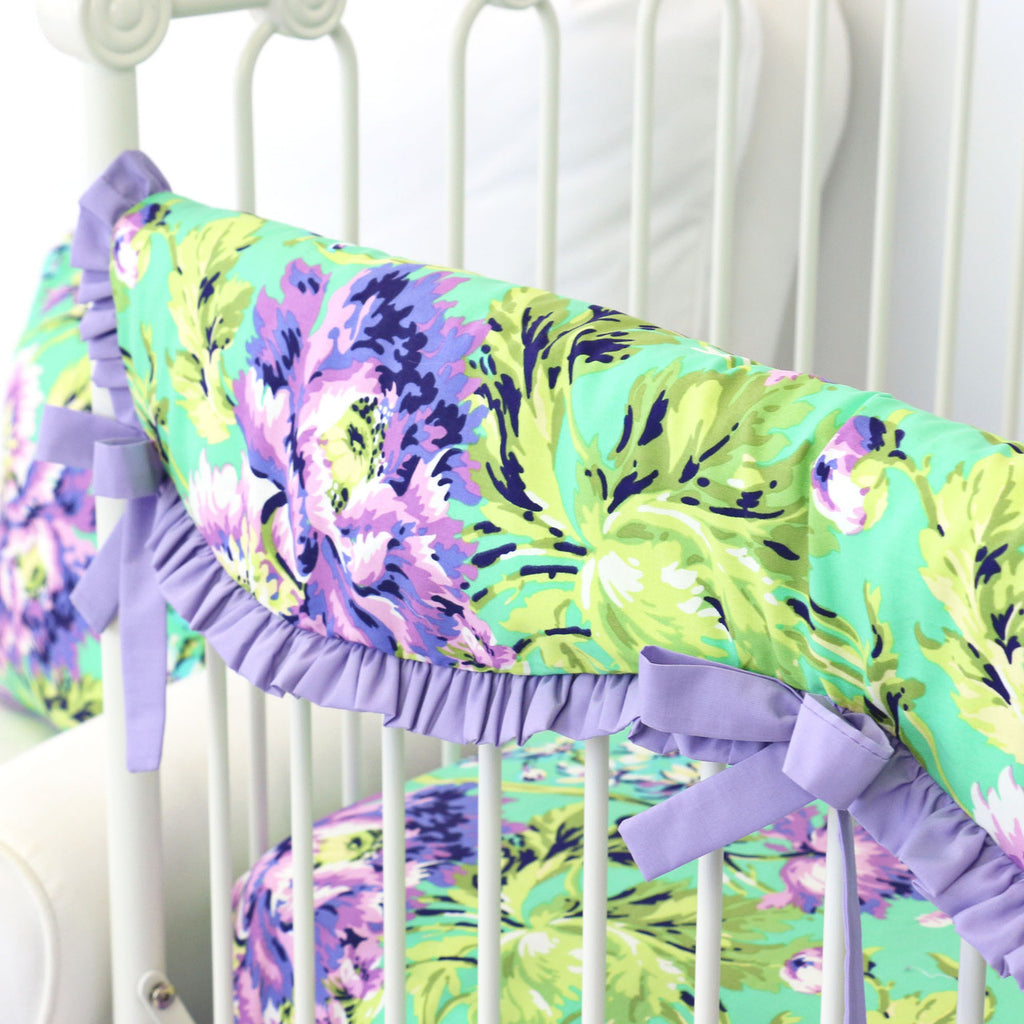 Puprle and Green Floral Scalloped Crib RailCover