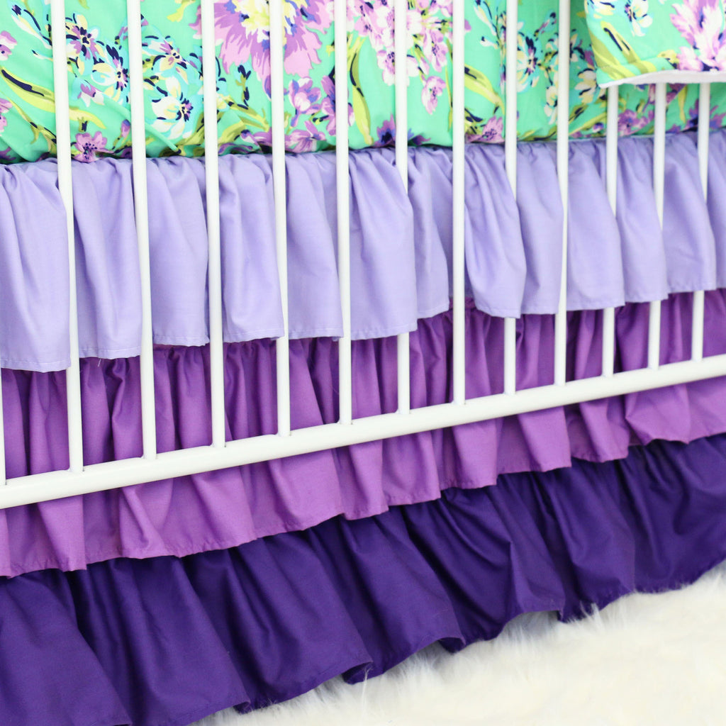 Purple Gradient Triple Ruffle Crib Skirt