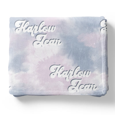 Groovy Multi-Color Tie Dye Personalized Toddler Blanket
