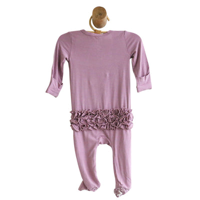 Solid Dusty Purple Bamboo Zipper Ruffle Footie