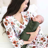 dark floral maternity robe with green swaddle