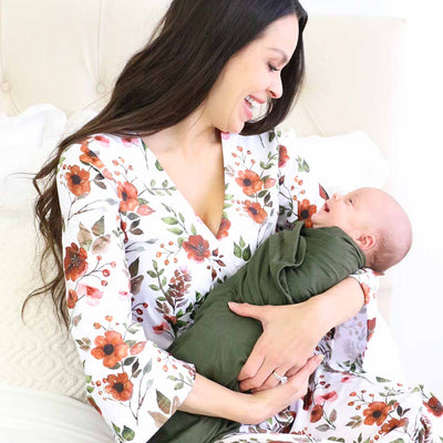 Quinn's Rust Floral Knit Maternity Robe