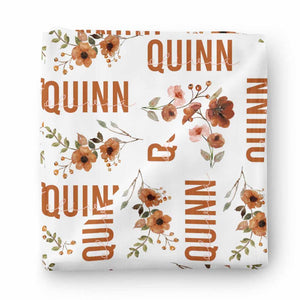Quinn's Rust Floral Personalized Baby Name Swaddle Blanket