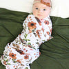rust floral newborn soft swaddle
