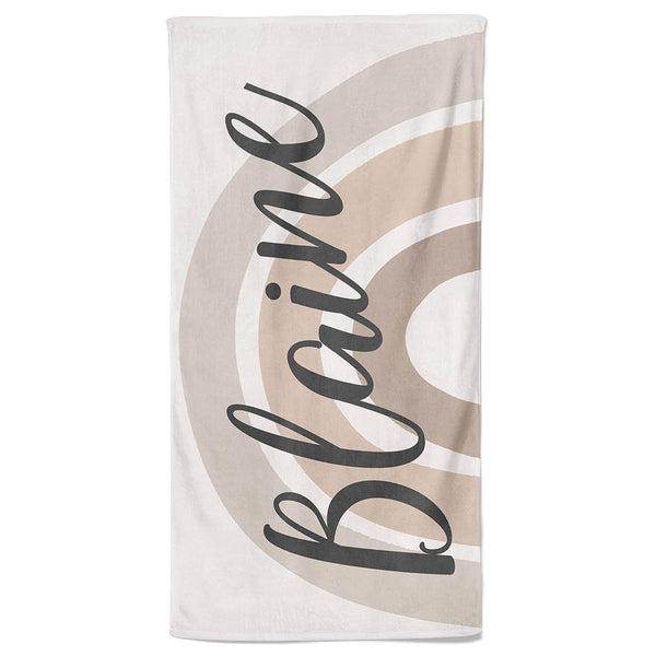 Rainbow Neutral Personalized Kids Beach Towel