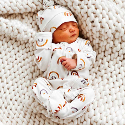 rainbow print newborn sleeper