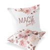 Rosie's Rose Garden Custom Name Throw Pillow