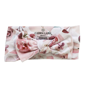 rose blush pink newborn headband with bow