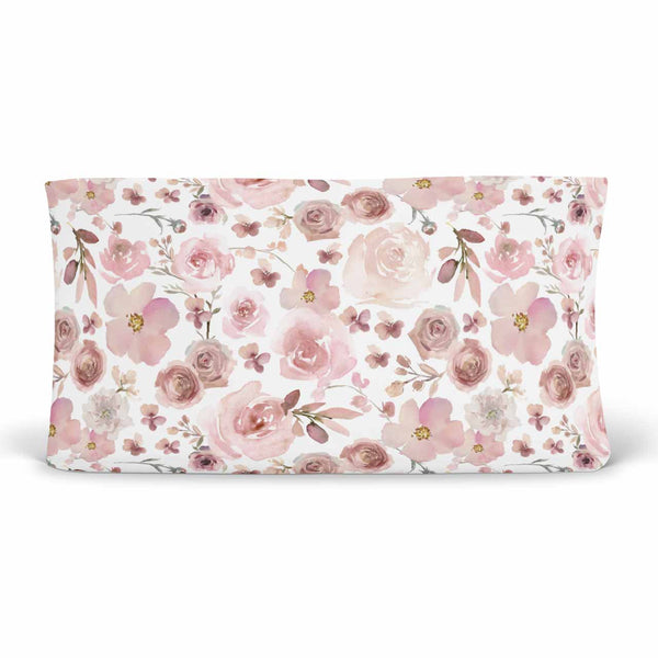 rosie rose print changing pad cover