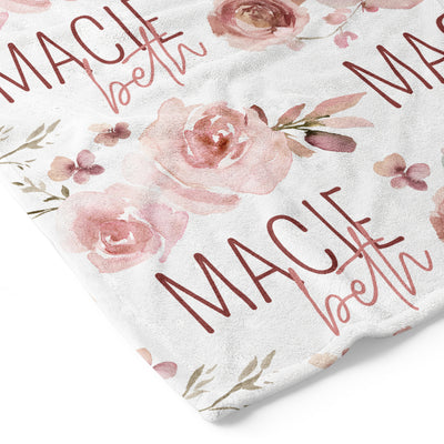 Rosie's Rose Garden Personalized Toddler Blanket