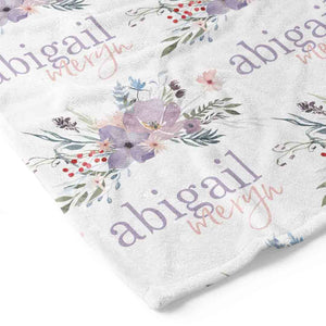 Rowan's Dusty Purple Floral Personalized Toddler Blanket