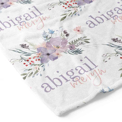 Purple Floral Personalized Kid Blanket