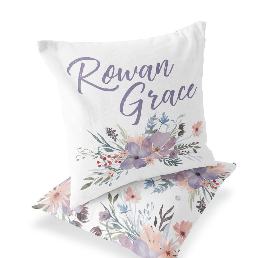 Dusty Purple Floral Personalized Name Accent Pillow