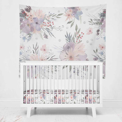 Rowan's Purple Floral Wall Tapestry for a purple nursery