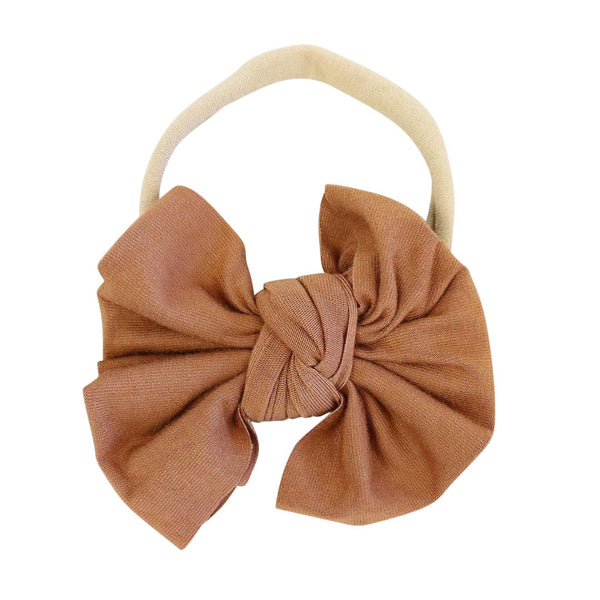 Solid Camel Knit Bow Headband