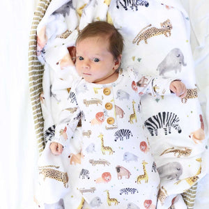 Safari Party Newborn Baby Knot Gown & Hat Set
