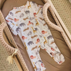 safari print zipper footie