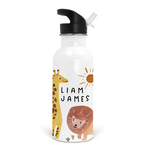 safari party animals personalized custom stainless steel kid water bottle